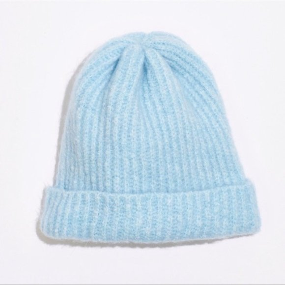Free People Lullaby Rib Beanie Robins Egg Knit Stretch Fuzzy Soft Comfy Cozy Hat